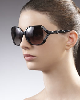 Gucci Square Plastic Bamboo-Shaped Sunglasses