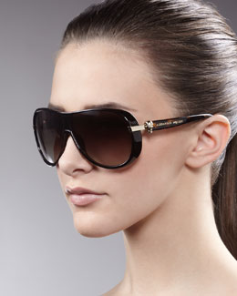 Alexander McQueen Enamel Aviator Sunglasses, Brown