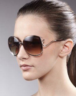 Roberto Cavalli Snake-Temple Sunglasses, Golden