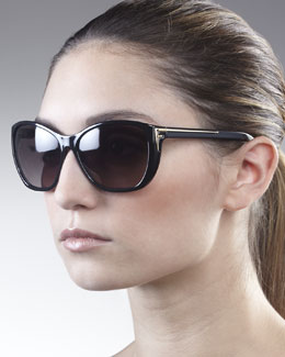 Fendi Sleek Logo-Arm Sunglasses, Black