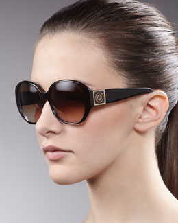 Tory Burch Logo-Temple Sunglasses, Tortoise