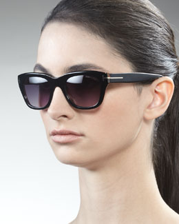 Tom Ford Snowdon Sunglasses, Black/Havana