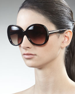Givenchy Rounded Resin Sunglasses, Dark Havana