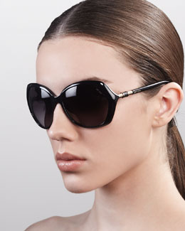 Jimmy Choo Justine Sunglasses, Shiny Black
