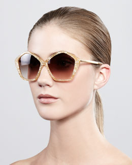 Miu Miu Pentagon Glitter Enamel Sunglasses, Orange