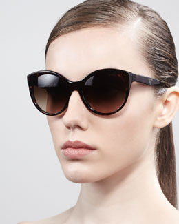 Prada Rounded Cat-Eye Sunglasses, Havana