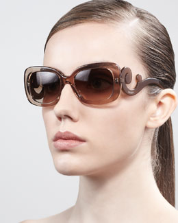 Prada Curved-Temple Sunglasses, Brown