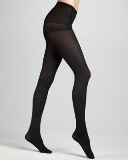 Hue Shimmery Ribbed Tights, Black