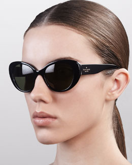 kate spade new york franca cat-eye sunglasses, black