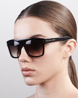 Marc Jacobs Square Sunglasses with Logo, Dark Havana