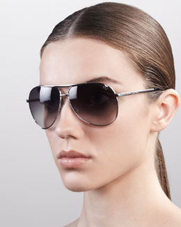 Marc Jacobs Classic Aviator Sunglasses, Shiny Rhodium