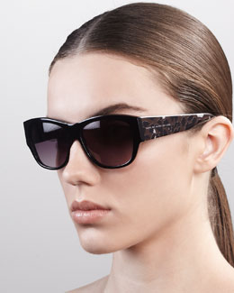 MARC by Marc Jacobs Leopard-Pattern Square Sunglasses, Black