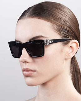 Lanvin Square Hardware Sunglasses, Black