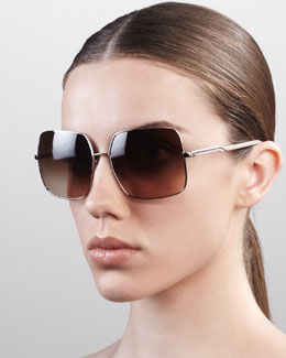 Stella McCartney Square Metal Sunglasses, Silver
