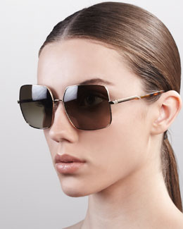 Stella McCartney Square Metal Sunglasses, Golden