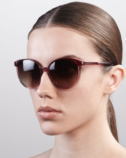 Stella McCartney Thin Round Plastic Sunglasses, Violet