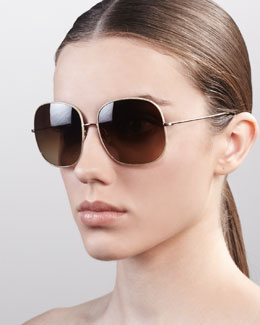 Oliver Peoples Daisy Oversize Feminine Sunglasses, Golden