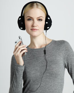 kate spade new york big apple tech ear muffs, black/cream