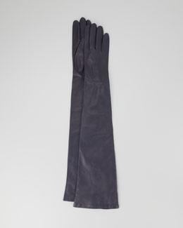 Portolano Opera-Length Leather Gloves, Navy