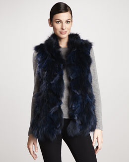 Jocelyn Roadie Sectioned Fox Fur Vest