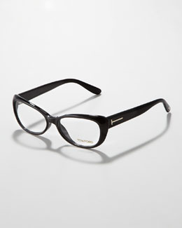 Tom Ford Soft Cat-Eye Fashion Glasses, Shiny Black/Silver