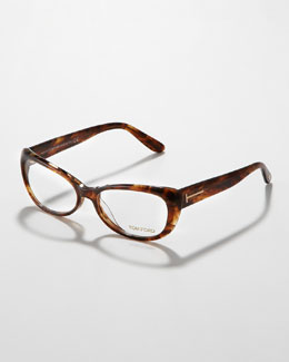 Tom Ford Soft Cat-Eye Fashion Glasses,  Brown Havana
