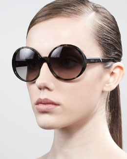 Stella McCartney Round Sunglasses, Green Tortoise