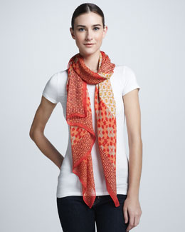 Tory Burch Isabelle Mixed-Print Scarf