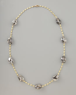 Panacea Crystal-Station Necklace, Gray