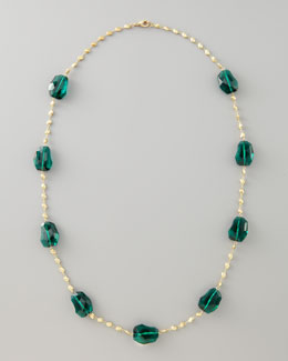 Panacea Crystal-Station Necklace, Green