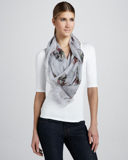Alexander McQueen Bird and Dragonflies Swarm Scarf, Sky Blue