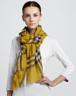 Burberry Color Check Voile Scarf, Lemon Quartz