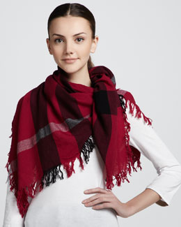 Burberry Color Check Square Voile Scarf, Magenta