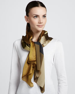 Burberry Mega Check Satin Scarf, Dark Mustard