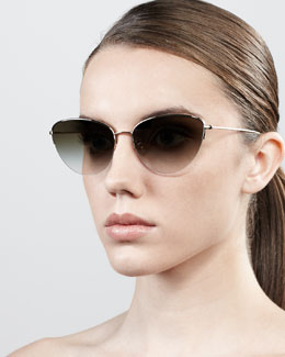 Oliver Peoples Kiley Semi-Rimless Cat-Eye Sunglasses, Golden