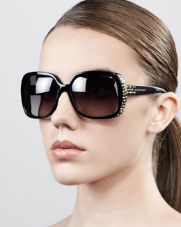 Alexander McQueen Studded Oversized Wrap Sunglasses, Black