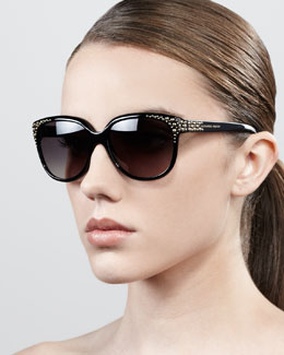 Alexander McQueen Cat-Eye Stud Sunglasses, Black