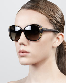 Dior Taffeta Etched Soft-Cat-Eye Sunglasses, Brown Havana