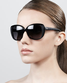 Dior Taffeta Etched Cat-Eye Sunglasses, Black