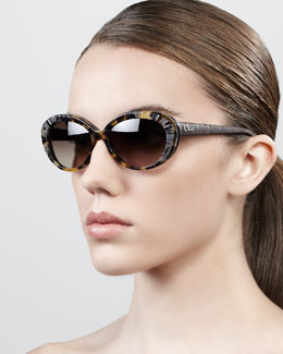 Dior Taffeta Etched Cat-Eye Sunglasses, Red Havana