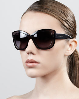 Marc Jacobs Thick-Rim Cat-Eye Sunglasses, Gray/Black