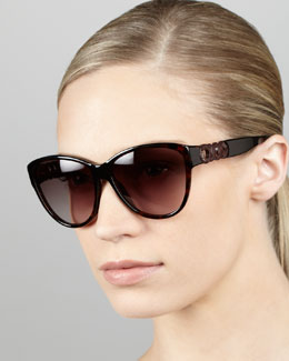 MARC by Marc Jacobs Chain-Temple Cat-Eye Sunglasses, Havana