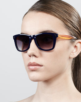 MARC by Marc Jacobs Retro Rectangle Sunglasses, Blue