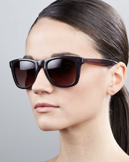MARC by Marc Jacobs Retro Rectangle Sunglasses, Dark Brown/Blue