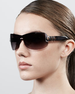 MARC by Marc Jacobs Chain-Temple Shield Sunglasses, Brown