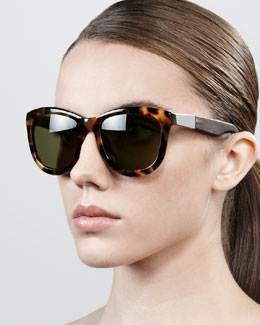 The Row Leather-Arm Classic Sunglasses, Tortoise