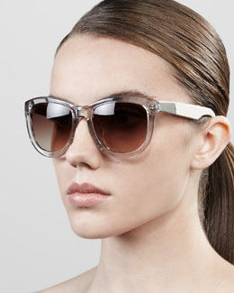 The Row Leather-Arm Classic Sunglasses, Clear Gray