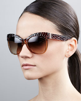 Roberto Cavalli Pebble-Textured Cat-Eye Sunglasses, Brown/Rose Golden