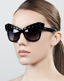 Roberto Cavalli Diva Exaggerated Cat-Eye Sunglasses, Shiny Black
