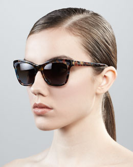 Prada Two-Tone Retro Rectangle Sunglasses, Spotted Blue